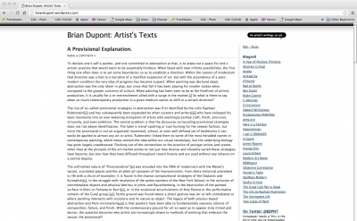 Brian Dupont artist blog
