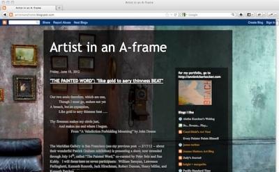 Artist in an A-frame blog