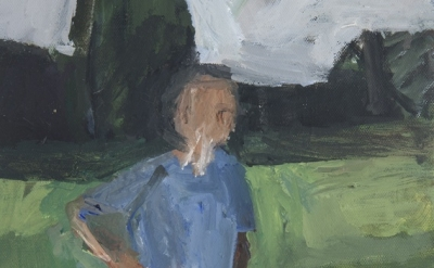 (detail) Janice Nowinski, Man in Field, 9 x 12 inches, oil on canvas, 2012 (cour