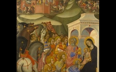 (detail) Bartolo di Fredi (1375-1385), Adoration of the Magi, Tempera and gold l