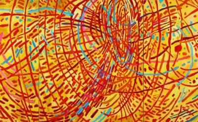 Mildred Thompson, Magnetic Fields, 1991, oil on canvas, 70 x 150 inches (courtesy of the Mildred Thompson Estate, Atlanta, GA)