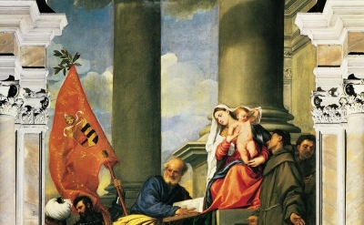 (detail) Titian, Pesaro Altarpiece, 1519-26, oil on canvas, 16.0 ft × 8.8 ft, Sa