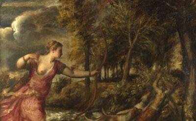 (detail) Titian, The Death of Actaeon about 1559-75 (National Gallery, London)