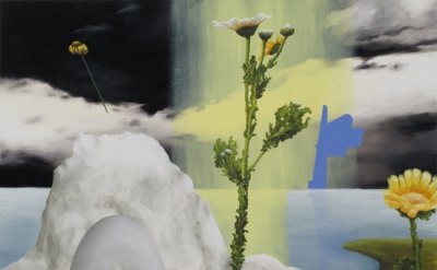 Lisa Adams, Paradise Notwithstandig, 2011, oil on panel, 48 x 60 inches (courtes