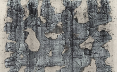 (detail) Elise Adibi, Graphite Painting on Canvas, 2012, rabbit skin glue, oil p