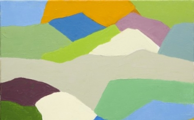 Etel Adnan, Untitled, 2014, oil on canvas, 13 x 16.1 inches (courtesy of Galerie