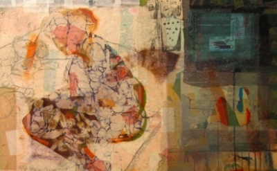 (detail) Hiba Akkad, Untitle, 2012, mixed media on canvas work (courtesy Galerie