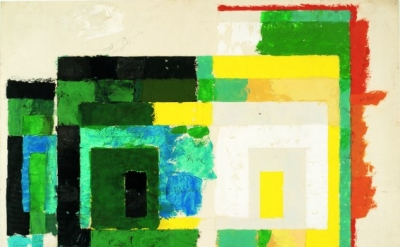 Josef Albers, Variant / Adobe, Study for Four Central Warm Colors, Surrounded by