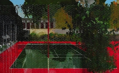 (detail) Hurvin Anderson, Country Club: Chicken Wire, 2008, oil on canvas (court