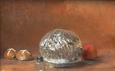 Lennart Anderson, Still Life With Corn Popper, Salt Shaker and Buns, early 1990s