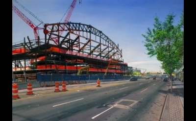 (detail) Andrew Lenaghan, New Stadium, Atlantic Avenue, 2011, oil on panel, 24 x