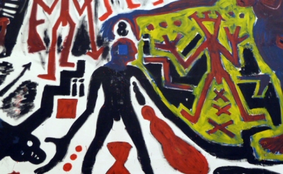 (detail)  A.R. Penck, Me in Germany (West), 1984, Emulsion paint on canvas (c) V
