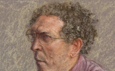 (detail) Avigdor Arikha, Self-Portrait in a Fuchsia Shirt, 1987. (© The Estate o