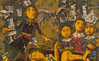 (detail) David Aronson, The Golem, 1958, encaustic on panel, 57 x 64 inches (Mus