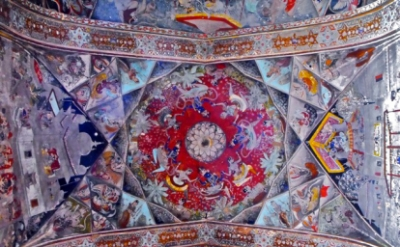 Painted ceiling of Badal Mahal, Bundi Palace, Bundi, India, circa 1605