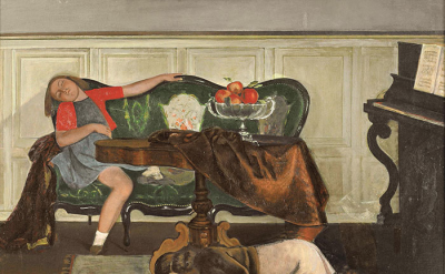Balthus, The Salon, 1941-43, oil on canvas, 44.5 x 57.75 inches (courtesy Minnea