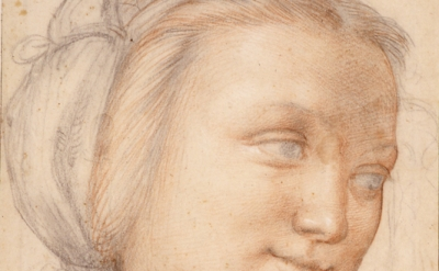 (detail) Fra Bartolommeo, Study for the face of a young woman (in the Madonna della Misericordia) c. 1515 (Museum Boijmans Van Beuningen, Rotterdam)