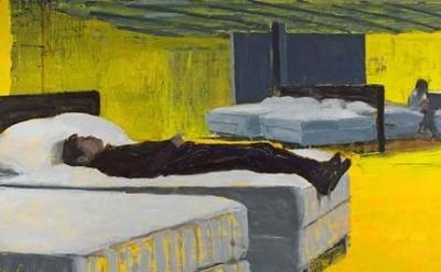 "Tirtzha Bassel, Ikea/Bedroom, 72""x100"", oil on canvas, 2014 (courtesy of the art"
