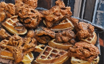 (detail) Gina Beavers, Food Porn! (Chicken & Waffles), 2012, acrylic and pumice