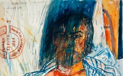 (detail) John Bellany. Self-Portrait (from the Addenbrooke's Hospital Series), 1