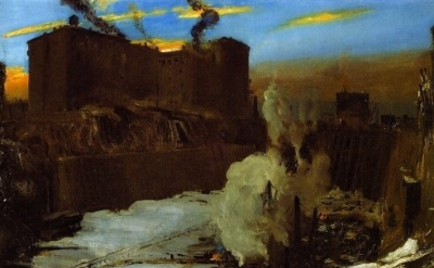 (detail) George Bellows, Pennsylvania Station Excavation, 1909 (Brooklyn Museum