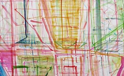 (detail) Judith Belzer, Broken Geometry 3 (Canal Zone), 2015, oil on canvas, 50