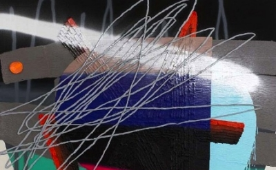 (detail) Trudy Benson, Gates, 2012, Acrylic, oil enamel, spray paint, and oil on