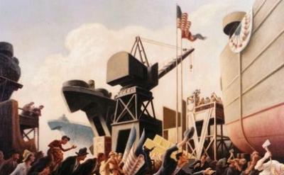 (detail) Thomas Hart Benton, Cut The Line, 1944, oil on board, Navy Art Collecti