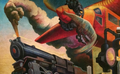 (detail) Instruments of Powe, Thomas Hart Benton, America Today Mural, 1930–31