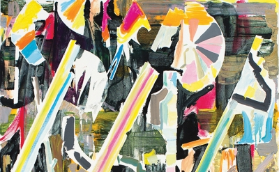 (detail) Thomas Berding, Pie Chart Fanfare, 2015, oil and Flashe on canvas, 48 x