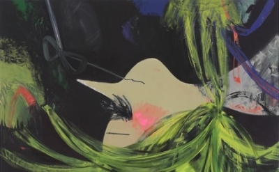 (detail) Ellen Berkenblit, A Large Group of Bats, 2011, Oil and charcoal on line
