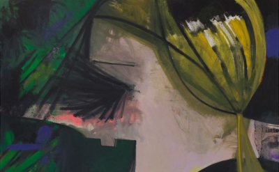 (detail) Ellen Berkenblit, Nite Vibe, 2015, oil, charcoal and mono print on line