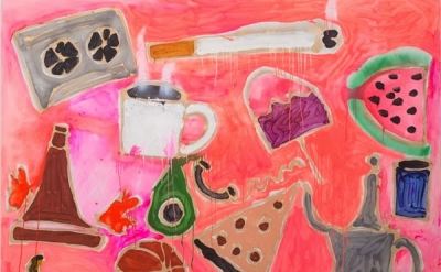 Katherine Bernhardt, Everything in Pink, 2014, acrylic and spray paint on canvas