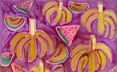 Katherine Bernhardt, Jungle Snack, 2015, acrylic and spray paint on canvas, 96 x
