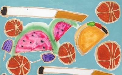 (detail) Katherine Bernhardt, Tropical Fruit Salad, 2014, acrylic and spray pain
