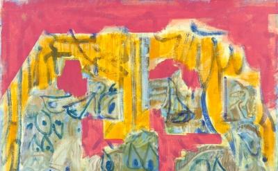 (detail) Michael Berryhill, Revolving Cave Door, 2016, oil on linen, 90 x 75 inc