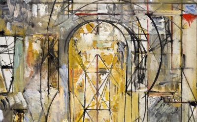 (detail) Jake Berthot, 105 (Studio), 1990, oil on linen, 30 3/4 x 20 3/4 inches