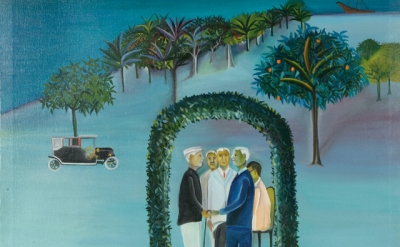 (detail) Bhupen Khakhar, Man Leaving (Going Abroad), 1970 (courtesy of Tapi Coll