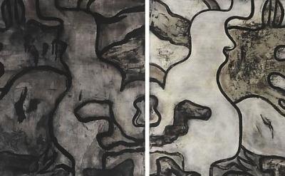 (detail) Bill Jensen, Book of Songs, 2010-11 Oil on linen, diptych, 54 x 44 inch