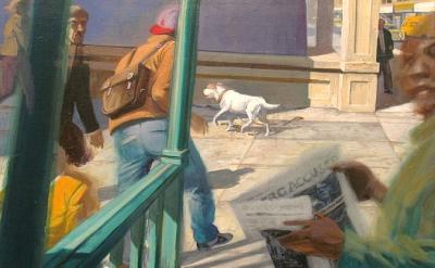 Robert Birmelin, Steps U2013 The White Dog, Acrylic On Canvas, 18 In X