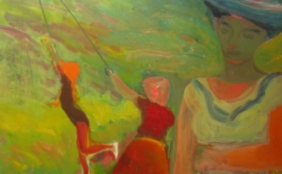 (detail) Elmer Bischoff, Playground, 1954, oil on canvas, 68 x 55 inches (courte