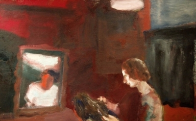 (detail) Elmer Bischoff, Girl Geting a Haircut, 1962, oil on canvas, 63 x 70 inc