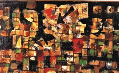 (detail) Roger Bissière, Voyage au bout de la nuit, 1955, oil on canvas, 30-1/4 x 44-7/8 inches (© Bissiere/ADAGP)
