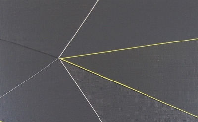 (detail) Katrina Blannin, Double Hexad Black Yellow, acrylic on Linen, 60 x 50 c