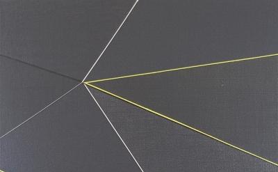 (detail) Katrina Blannin, Double Hexad Black Yellow, acrylic on Linen, 60 x 50 c
