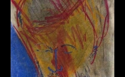 (detail) Bob Thompson, Red, 1958, pastel on paper 13 x 10 inches (courtesy Steve