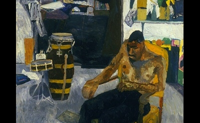 (detail) Bob Thompson, Self Portrait in the Studio, 1960, oil on board, 40 x 30