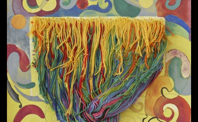 (detail) Regina Bogat, Threaded Piece 3, c.1973, gouache, graphite, threads on p