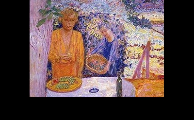 (detail) Pierre Bonnard, The Terrace at Vernonnet, 1920-39, oil on canvas, 58 1/