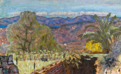 Pierre Bonnard, Paysage du Cannet par temps de Mistral (Landscape with the Mistral Wind), 1922, oil on canvas, 49 x 62 cm (Acquired with the support of the FRAM. Musée Bonnard, Le Cannet. © Adagp, Paris 2014)
